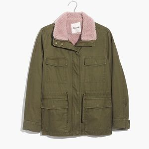 Madewell Sherpa Trimmed Surplus Jacket olive Green